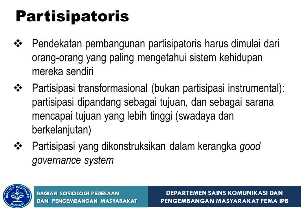 DEPARTEMEN SAINS KOMUNIKASI DAN PENGEMBANGAN MASYARAKAT FEMA IPB BAGIAN SOSIOLOGI PEDESAAN DAN PENGEMBANGAN MASYARAKAT Three Approaches of Community Development (Christenson & Robinson, 1989) 1.The Self-Help Approach 2.The Technical Assistance Approach 3.The Conflict Approach