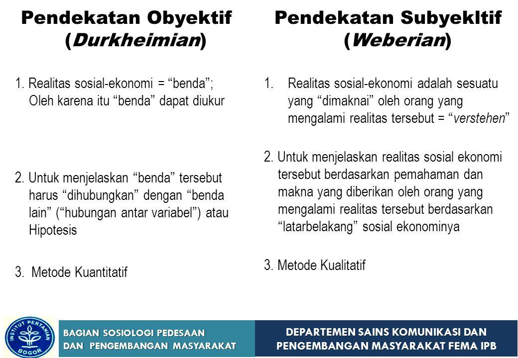 DEPARTEMEN SAINS KOMUNIKASI DAN PENGEMBANGAN MASYARAKAT FEMA IPB BAGIAN SOSIOLOGI PEDESAAN DAN PENGEMBANGAN MASYARAKAT Pendekatan Obyektif (Durkheimia