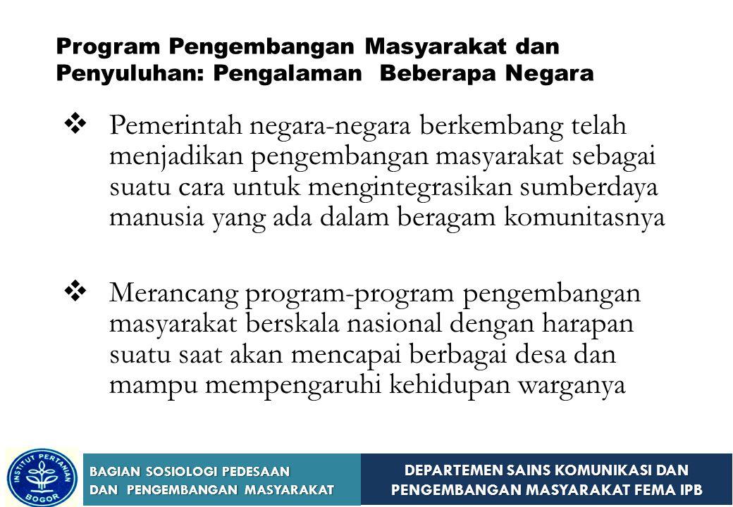 DEPARTEMEN SAINS KOMUNIKASI DAN PENGEMBANGAN MASYARAKAT FEMA IPB BAGIAN SOSIOLOGI PEDESAAN DAN PENGEMBANGAN MASYARAKAT 2. 2. Program Pengembangan Masy