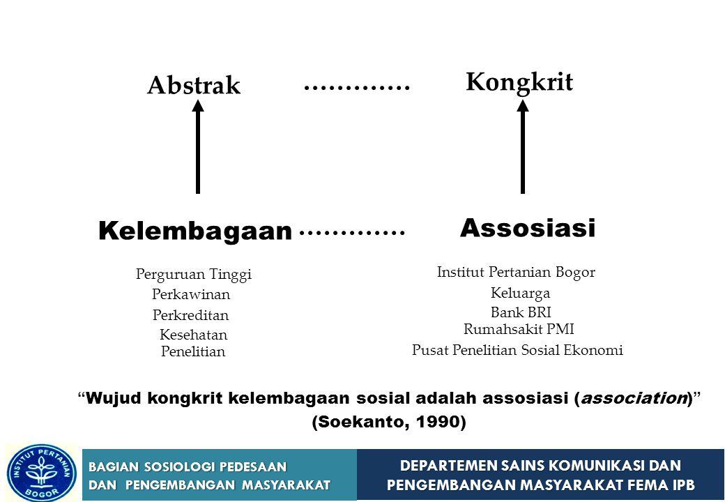 DEPARTEMEN SAINS KOMUNIKASI DAN PENGEMBANGAN MASYARAKAT FEMA IPB BAGIAN SOSIOLOGI PEDESAAN DAN PENGEMBANGAN MASYARAKAT  Koentjaraningrat (1964)  Suatu sistem tata kelakuan dan hubungan yang berpusat kepada aktivitas-aktivitas untuk memenuhi kompleks-kompleks kebutuhan khusus dalam kehidupan masyarakat  Soerjono Soekanto (1990)  Himpunan norma-norma dari segala tingkatan yang berkisar pada suatu kebutuhan pokok di dalam kehidupan masyarakat