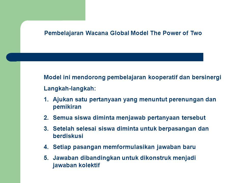 Pembelajaran Wacana Global Model Billboard Ranking Model ini digunakan untuk mendiskusikan nilai-nilai, gagasan dan pilihan-pilihan dalam masyarakat Langkah-langkah: 1.Bagi siswa dalam kelompok kecil 3-4 anak 2.Berikan daftar nilai-nilai luhur yang dianggap penting 3.Berikan potongan kertas dan siswa dalam satu kelompok diminta mengurutkan 4.Buat sejenis Billboard dimana setiap kelompok menampilkan daftar urutan/ranking dari nilai-nilai tersebut 5.Mereiew dari urutan perkelompok