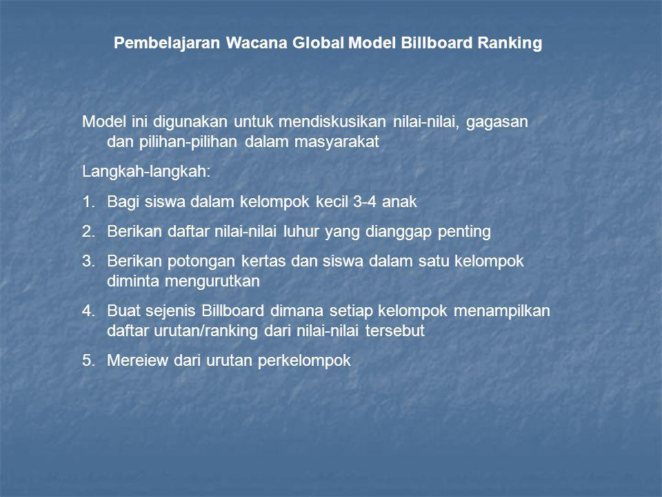 Pembelajaran Wacana Global Model Billboard Ranking Model ini digunakan untuk mendiskusikan nilai-nilai, gagasan dan pilihan-pilihan dalam masyarakat L