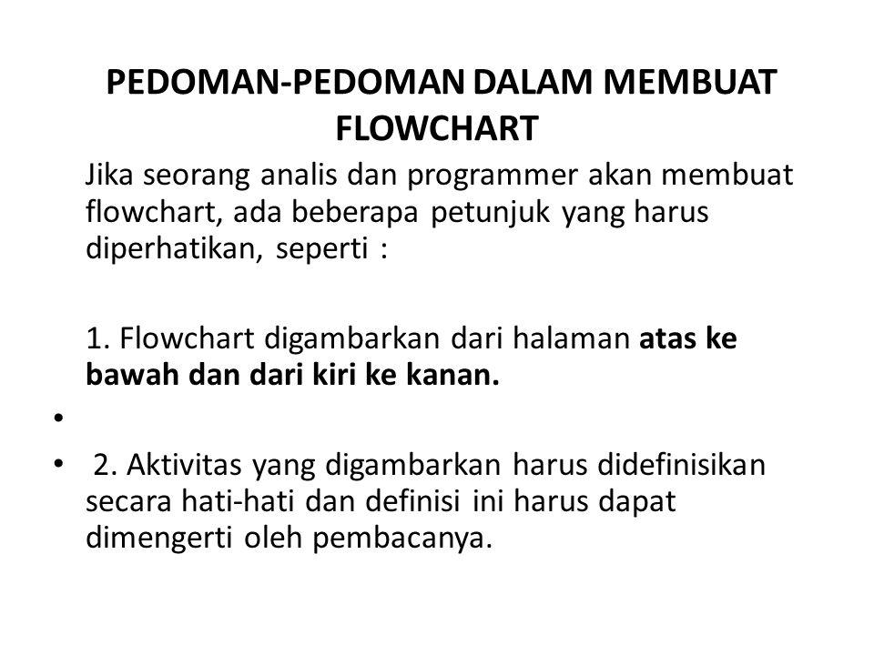 PEDOMAN-PEDOMAN DALAM MEMBUAT FLOWCHART Jika seorang analis dan programmer akan membuat flowchart, ada beberapa petunjuk yang harus diperhatikan, sepe