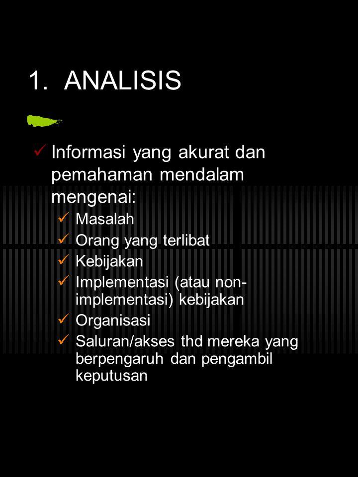 1. ANALISIS Informasi yang akurat dan pemahaman mendalam mengenai: Masalah Orang yang terlibat Kebijakan Implementasi (atau non- implementasi) kebijak