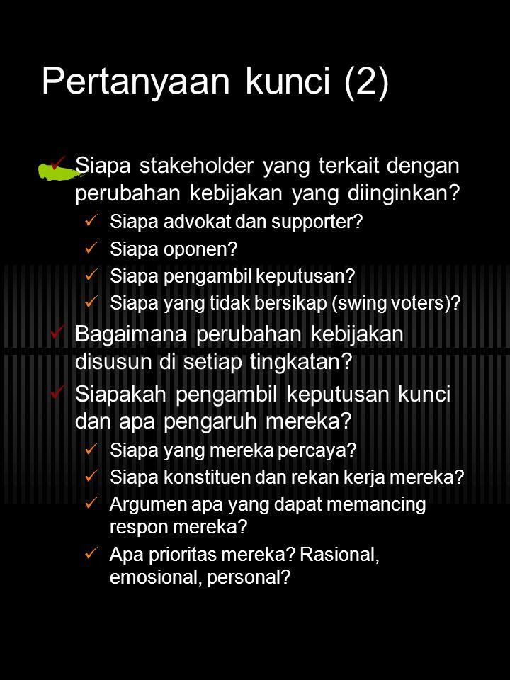 Pertanyaan kunci (2) Siapa stakeholder yang terkait dengan perubahan kebijakan yang diinginkan? Siapa advokat dan supporter? Siapa oponen? Siapa penga