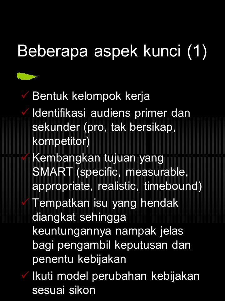 Beberapa aspek kunci (1) Bentuk kelompok kerja Identifikasi audiens primer dan sekunder (pro, tak bersikap, kompetitor) Kembangkan tujuan yang SMART (