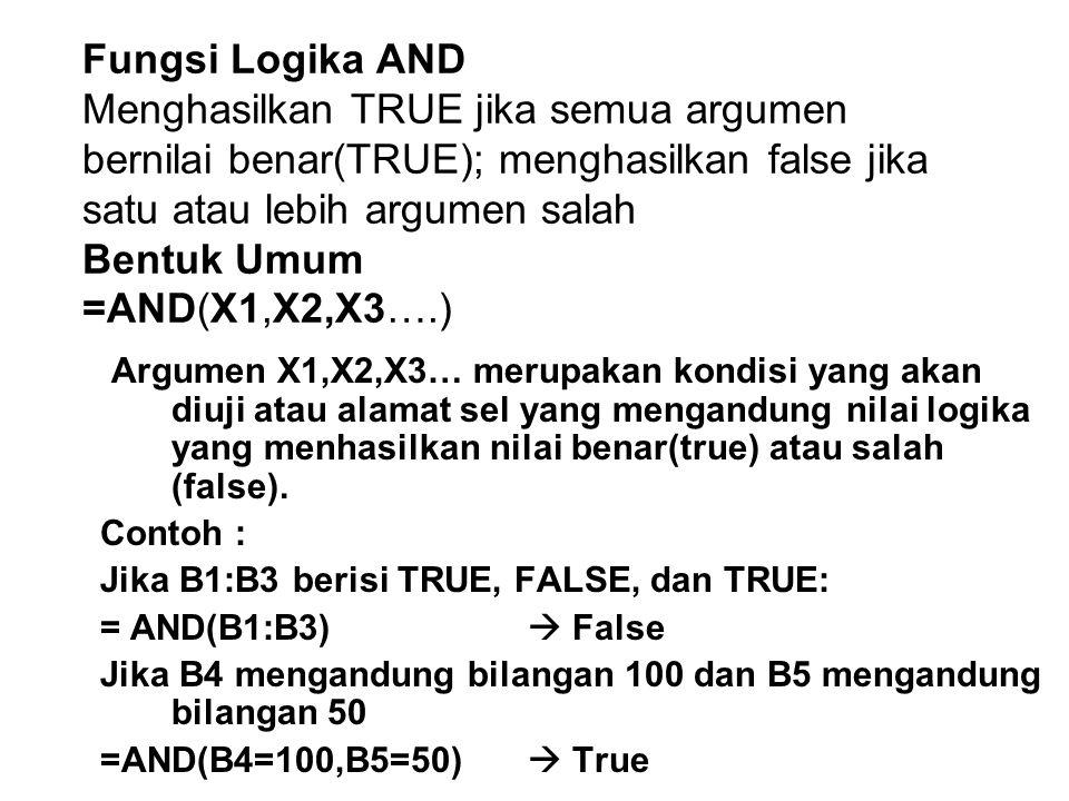 Fungsi Logika AND Menghasilkan TRUE jika semua argumen bernilai benar(TRUE); menghasilkan false jika satu atau lebih argumen salah Bentuk Umum =AND(X1