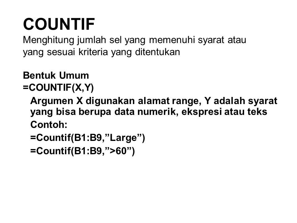 COUNTIF Menghitung jumlah sel yang memenuhi syarat atau yang sesuai kriteria yang ditentukan Bentuk Umum =COUNTIF(X,Y) Argumen X digunakan alamat rang