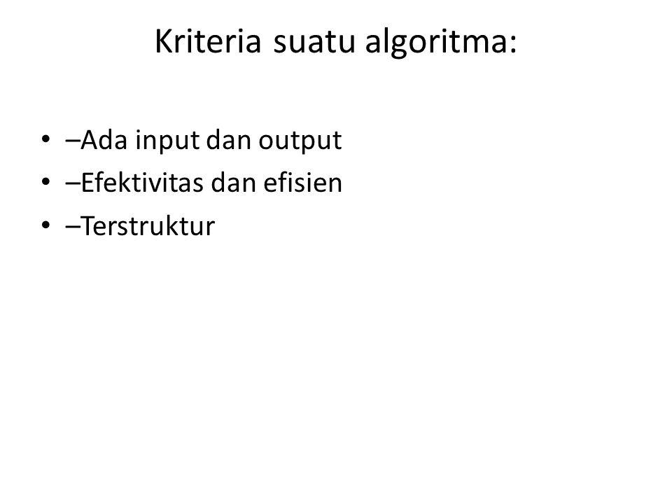 Kriteria suatu algoritma: –Ada input dan output –Efektivitas dan efisien –Terstruktur