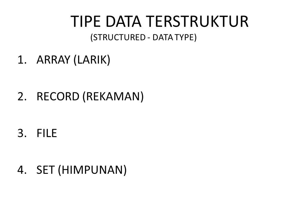 TIPE DATA TERSTRUKTUR (STRUCTURED - DATA TYPE) 1.ARRAY (LARIK) 2.RECORD (REKAMAN) 3.FILE 4.SET (HIMPUNAN)