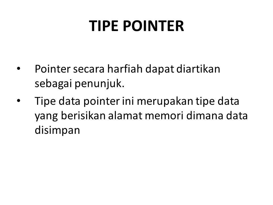 TIPE POINTER Pointer secara harfiah dapat diartikan sebagai penunjuk. Tipe data pointer ini merupakan tipe data yang berisikan alamat memori dimana da