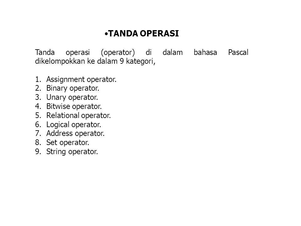 TANDA OPERASI Tanda operasi (operator) di dalam bahasa Pascal dikelompokkan ke dalam 9 kategori, 1.Assignment operator. 2.Binary operator. 3.Unary ope