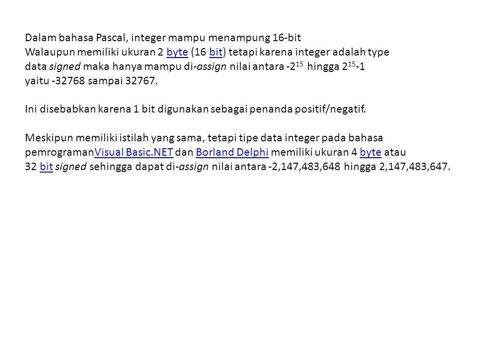 Operator Integer terdiri atas : +, -, *, /, DIV dan MOD Contoh : Var Jumlah : byte; Begin Jumlah := 200; WriteLn('Nilai JUMLAH = ',Jumlah); End.
