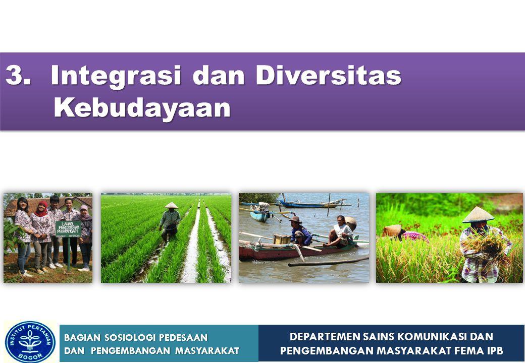 DEPARTEMEN SAINS KOMUNIKASI DAN PENGEMBANGAN MASYARAKAT FEMA IPB BAGIAN SOSIOLOGI PEDESAAN DAN PENGEMBANGAN MASYARAKAT 3. Integrasi dan Diversitas Keb