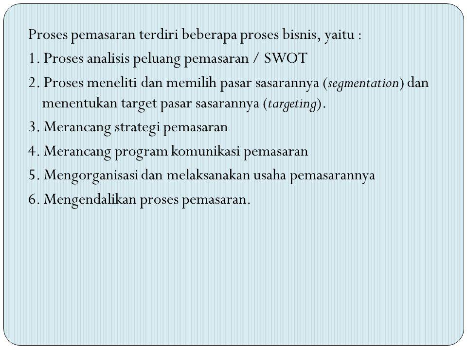 Proses pemasaran terdiri beberapa proses bisnis, yaitu : 1. Proses analisis peluang pemasaran / SWOT 2. Proses meneliti dan memilih pasar sasarannya (