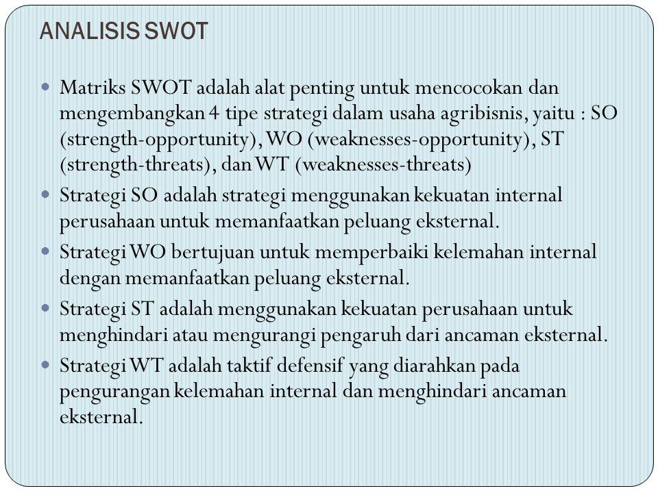 ANALISIS SWOT Matriks SWOT adalah alat penting untuk mencocokan dan mengembangkan 4 tipe strategi dalam usaha agribisnis, yaitu : SO (strength-opportu