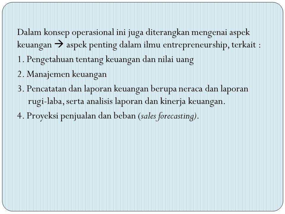 Dalam konsep operasional ini juga diterangkan mengenai aspek keuangan  aspek penting dalam ilmu entrepreneurship, terkait : 1. Pengetahuan tentang ke