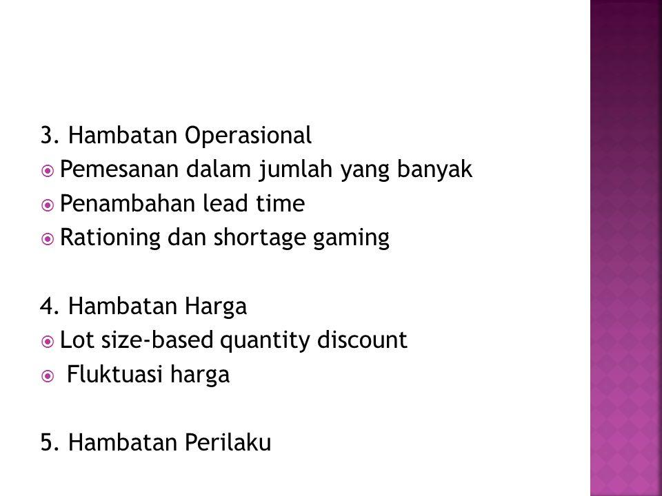 3. Hambatan Operasional  Pemesanan dalam jumlah yang banyak  Penambahan lead time  Rationing dan shortage gaming 4. Hambatan Harga  Lot size-based