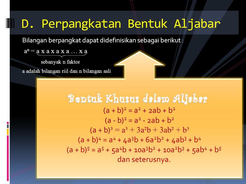 C ONTOH S OAL … 1.(2a) ³ = 2a. 2a. 2a = 8a³ 2. (–4m ² ) ² = (–4m ² ) × (–4m ² ) = 16m 4 3.