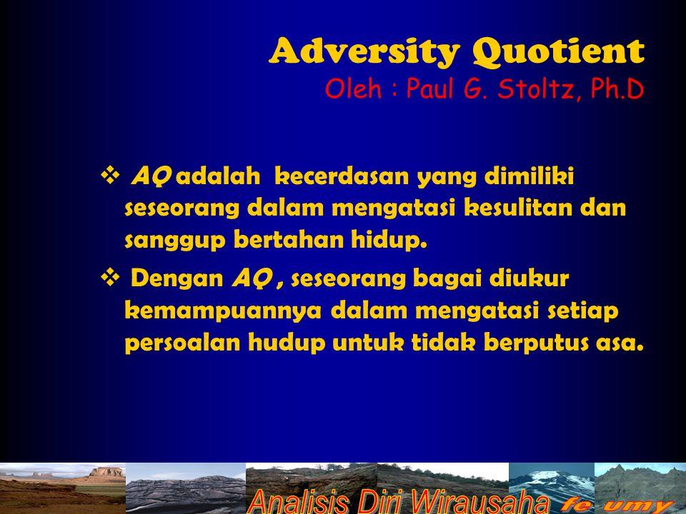 Adversity Quotient Oleh : Paul G. Stoltz, Ph.D  AQ adalah kecerdasan yang dimiliki seseorang dalam mengatasi kesulitan dan sanggup bertahan hidup. 