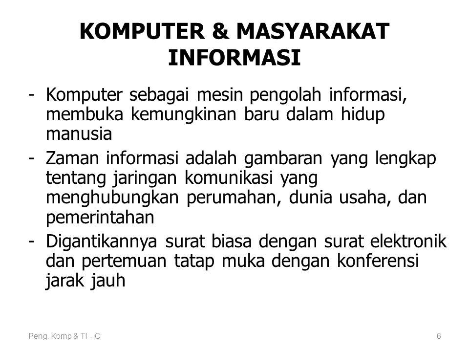 KOMPUTER & MASYARAKAT INFORMASI -Komputer sebagai mesin pengolah informasi, membuka kemungkinan baru dalam hidup manusia -Zaman informasi adalah gamba
