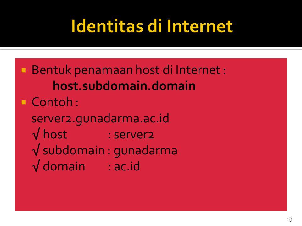  Bentuk penamaan host di Internet : host.subdomain.domain  Contoh : server2.gunadarma.ac.id √ host: server2 √ subdomain : gunadarma √ domain: ac.id 10