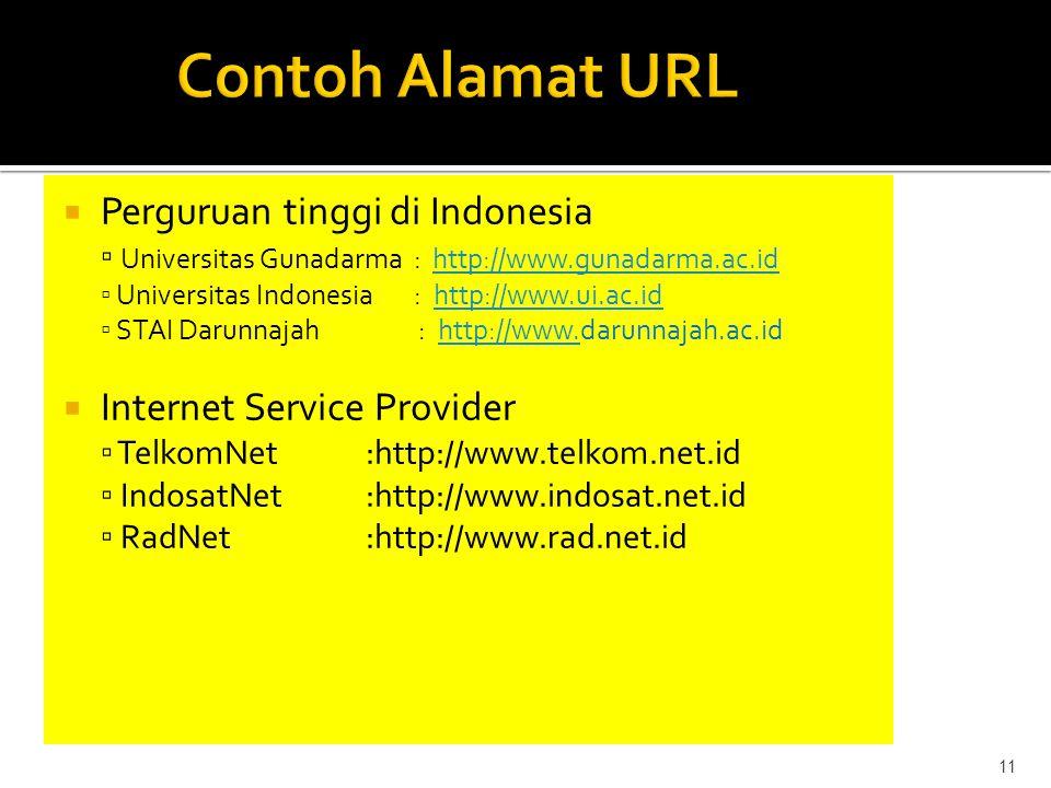  Perguruan tinggi di Indonesia ▫ Universitas Gunadarma : http://www.gunadarma.ac.idhttp://www.gunadarma.ac.id ▫ Universitas Indonesia : http://www.ui.ac.idhttp://www.ui.ac.id ▫ STAI Darunnajah : http://www.darunnajah.ac.idhttp://www.