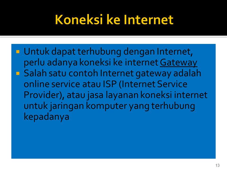  Untuk dapat terhubung dengan Internet, perlu adanya koneksi ke internet Gateway  Salah satu contoh Internet gateway adalah online service atau ISP (Internet Service Provider), atau jasa layanan koneksi internet untuk jaringan komputer yang terhubung kepadanya 13