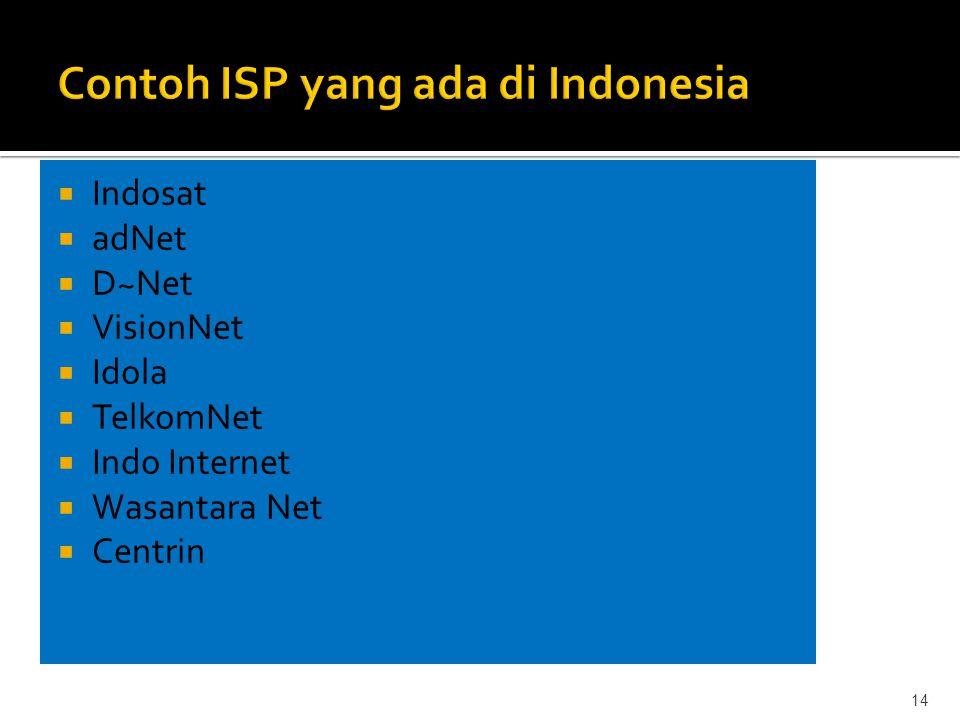  Indosat  adNet  D~Net  VisionNet  Idola  TelkomNet  Indo Internet  Wasantara Net  Centrin 14