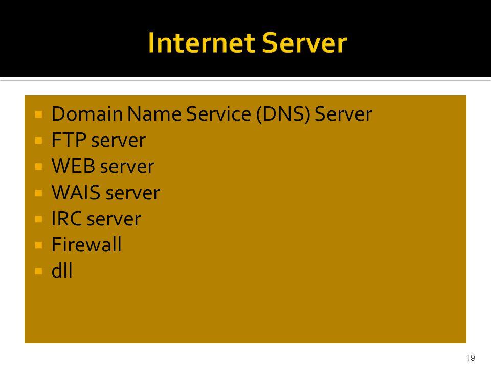  Domain Name Service (DNS) Server  FTP server  WEB server  WAIS server  IRC server  Firewall  dll 19