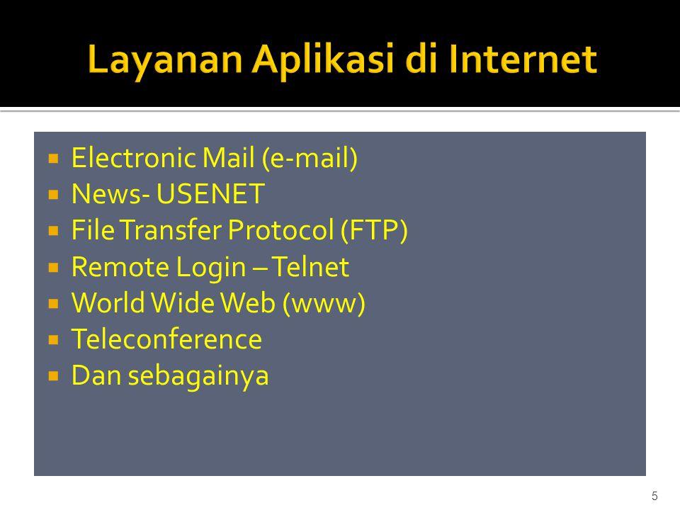  Setiap komputer atau host yang terhubung di Internet mempunyai satu nama yang unik, dikenal sebagai IP Address (Internet Protocol Address)  Alamat sebesar 32-bit direpresentasikan dalam bentuk desimal dibagi menjadi 4 bagian dipisahkan dengan titik  Contoh : 203.130.231.98 6
