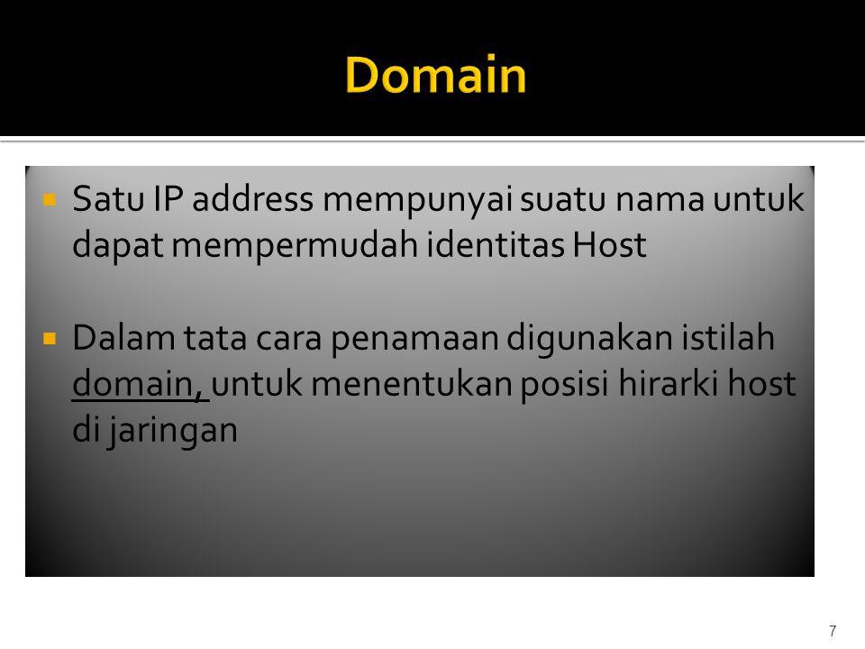  Satu IP address mempunyai suatu nama untuk dapat mempermudah identitas Host  Dalam tata cara penamaan digunakan istilah domain, untuk menentukan posisi hirarki host di jaringan 7