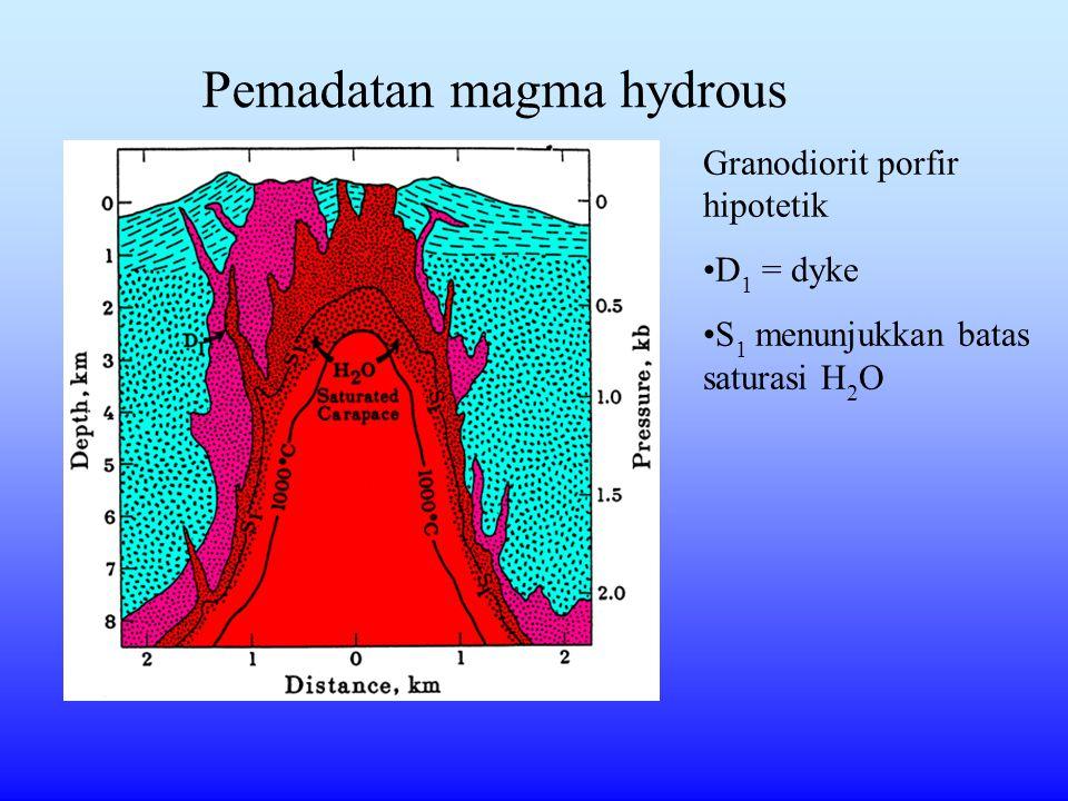 Pemadatan magma hydrous Granodiorit porfir hipotetik D 1 = dyke S 1 menunjukkan batas saturasi H 2 O