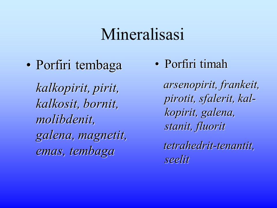 Mineralisasi Porfiri tembagaPorfiri tembaga kalkopirit, pirit, kalkosit, bornit, molibdenit, galena, magnetit, emas, tembaga kalkopirit, pirit, kalkos