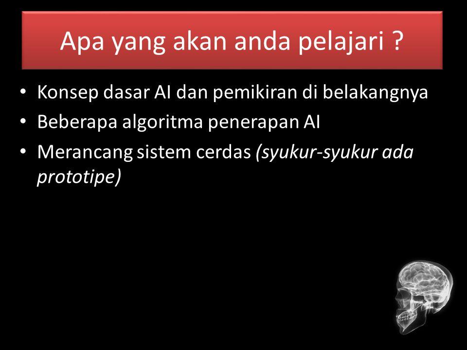 Overview Materi Pengantar AI Pengenalan Intelligent Agent Pencarian Tanpa Informasi Pencarian Heuristik Logika Proporsional Logika Predikat (Prolog) Inferensi Semantic Net Planning Learning (ANN) Fuzzy Logic Natural Language