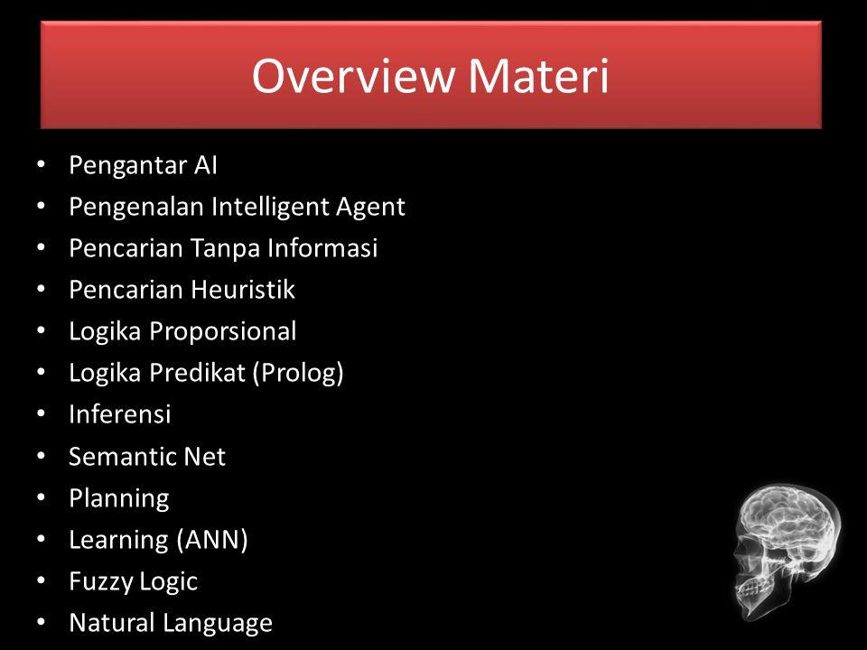 Overview Materi Pengantar AI Pengenalan Intelligent Agent Pencarian Tanpa Informasi Pencarian Heuristik Logika Proporsional Logika Predikat (Prolog) I