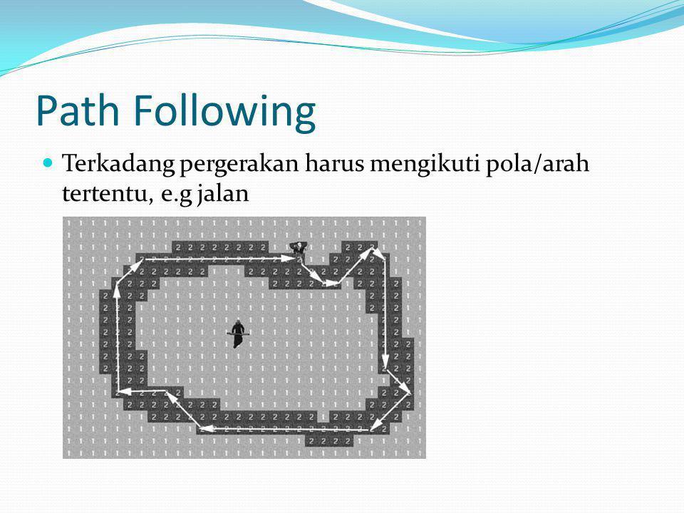 Path Following Terkadang pergerakan harus mengikuti pola/arah tertentu, e.g jalan
