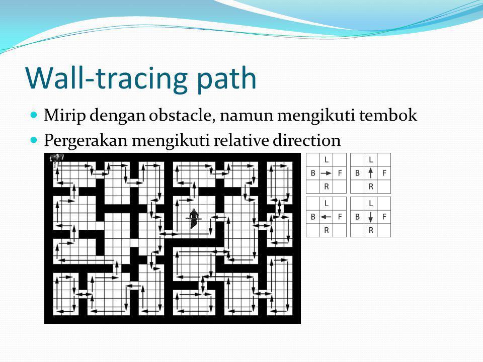 Wall-tracing path Mirip dengan obstacle, namun mengikuti tembok Pergerakan mengikuti relative direction