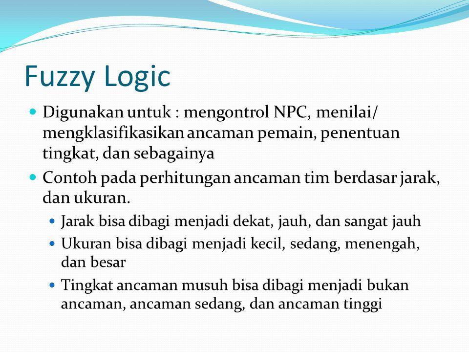 Fuzzy Logic Digunakan untuk : mengontrol NPC, menilai/ mengklasifikasikan ancaman pemain, penentuan tingkat, dan sebagainya Contoh pada perhitungan ancaman tim berdasar jarak, dan ukuran.