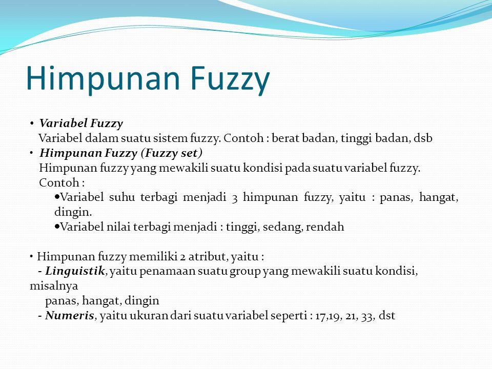 Variabel Fuzzy Variabel dalam suatu sistem fuzzy. Contoh : berat badan, tinggi badan, dsb Himpunan Fuzzy (Fuzzy set) Himpunan fuzzy yang mewakili suat