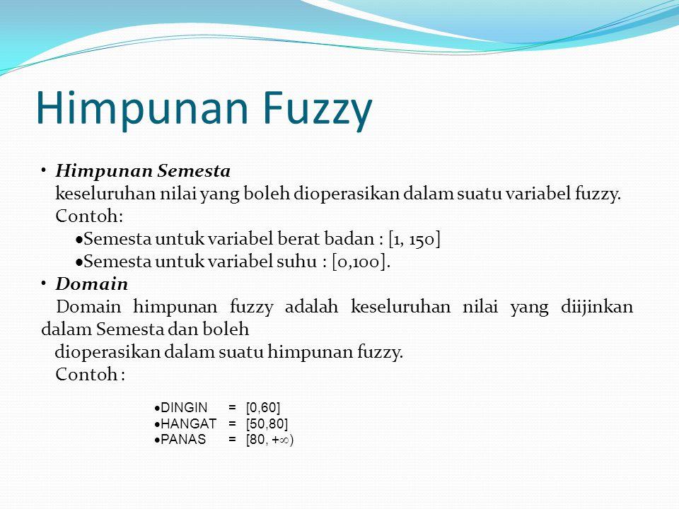 Himpunan Semesta keseluruhan nilai yang boleh dioperasikan dalam suatu variabel fuzzy. Contoh:  Semesta untuk variabel berat badan : [1, 150]  Semes