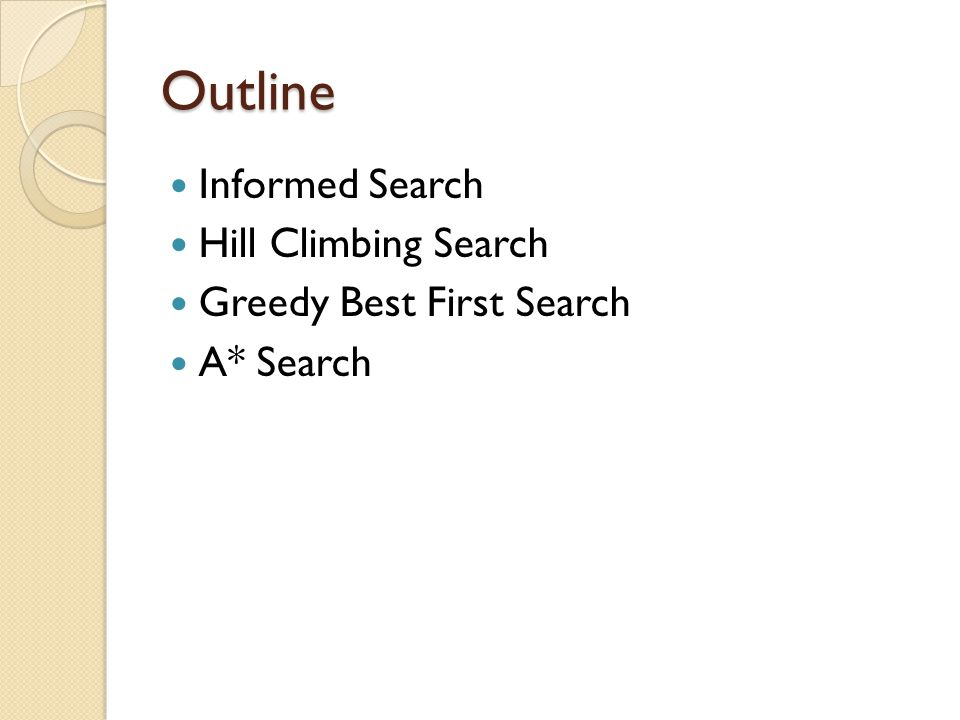 Outline Informed Search Hill Climbing Search Greedy Best First Search A* Search