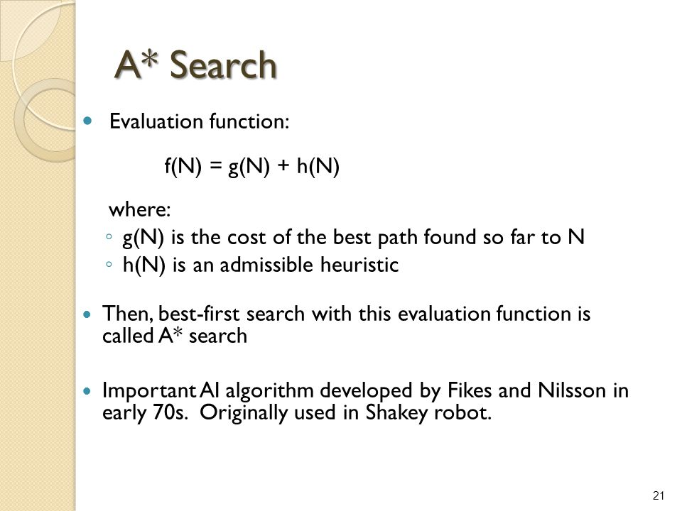 21 A* Search Evaluation function: f(N) = g(N) + h(N) where: ◦ g(N) is the cost of the best path found so far to N ◦ h(N) is an admissible heuristic Th