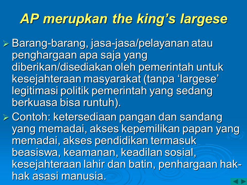 AP merupkan the king's largese  Barang-barang, jasa-jasa/pelayanan atau penghargaan apa saja yang diberikan/disediakan oleh pemerintah untuk kesejaht