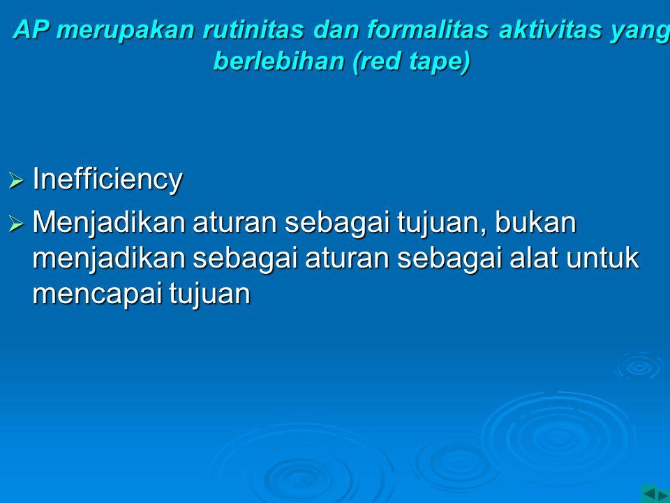 AP merupakan rutinitas dan formalitas aktivitas yang berlebihan (red tape)  Inefficiency  Menjadikan aturan sebagai tujuan, bukan menjadikan sebagai