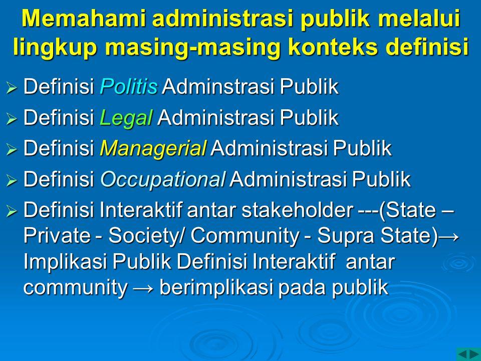 Memahami administrasi publik melalui lingkup masing-masing konteks definisi  Definisi Politis Adminstrasi Publik  Definisi Legal Administrasi Publik