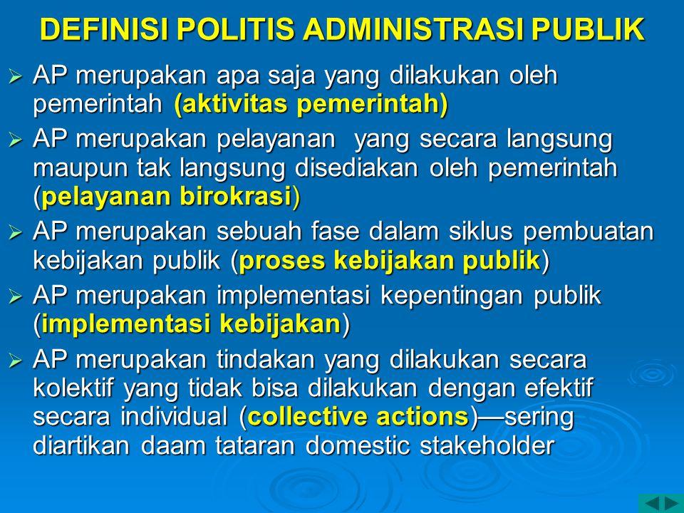 DEFINISI POLITIS ADMINISTRASI PUBLIK  AP merupakan apa saja yang dilakukan oleh pemerintah (aktivitas pemerintah)  AP merupakan pelayanan yang secar