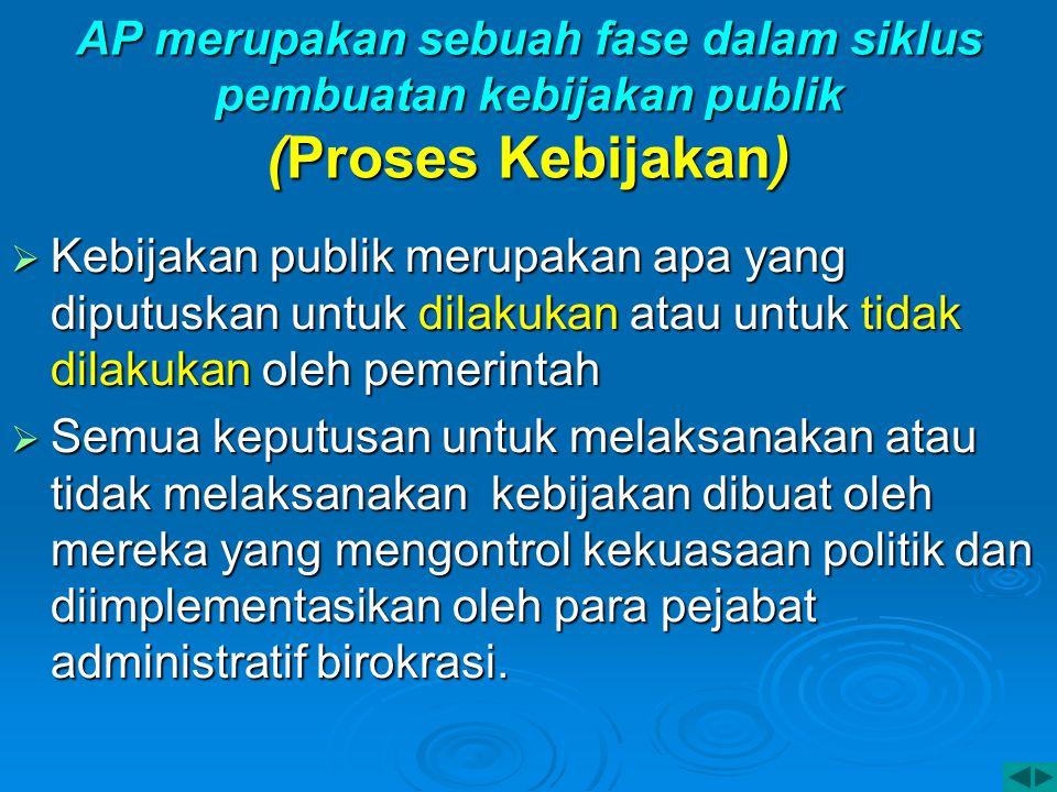 AP merupakan sebuah fase dalam siklus pembuatan kebijakan publik (Proses Kebijakan)  Kebijakan publik merupakan apa yang diputuskan untuk dilakukan a