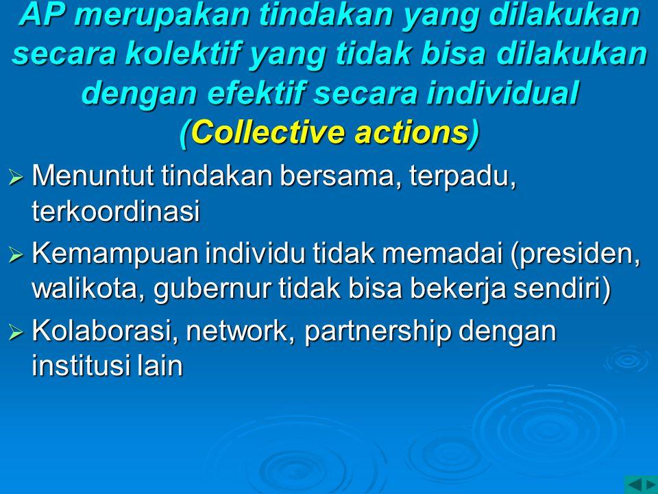 AP merupakan tindakan yang dilakukan secara kolektif yang tidak bisa dilakukan dengan efektif secara individual (Collective actions)  Menuntut tindak