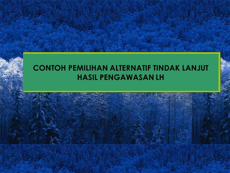 CONTOH PEMILIHAN ALTERNATIF TINDAK LANJUT HASIL PENGAWASAN LH